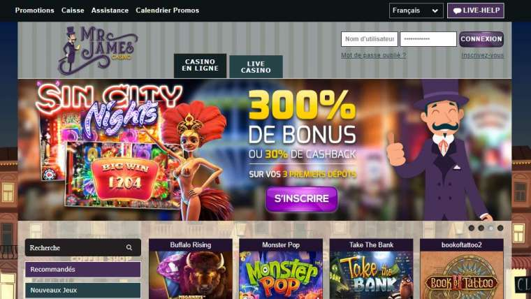 Mr James Casino avis : 50 free spins et 25€ en bonus de bienvenue !