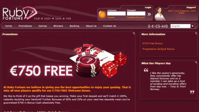 Ruby Fortune avis : un bonus de bienvenue de 750 € !
