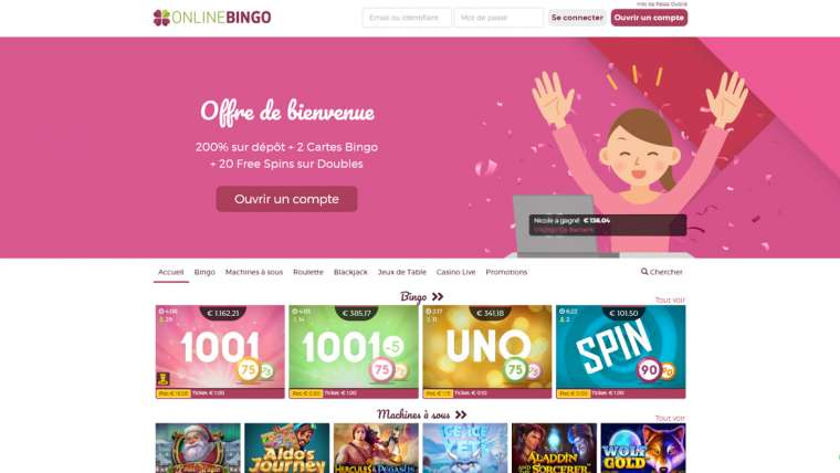 OnlineBingo : 20 free spins offerts ! Avis sur le casino !