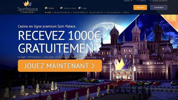 Spin Palace avis : une salle de jeux sécurisée avec 1000€ de bonus